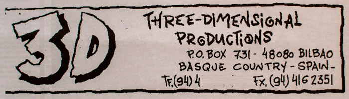 Anuncio de Three Dimensional en un número de El Tubo, en 1993