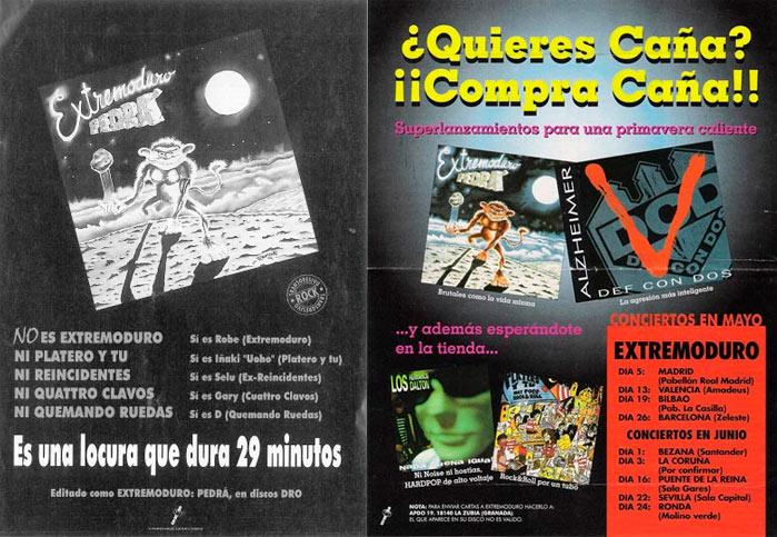 publicidad dro discos Pedrá y otros. Gira 1995
