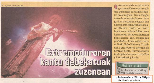 Foto y comentario del próximo concierto de Extremoduro y Fitipaldis en Bilbao (25/03/1999)