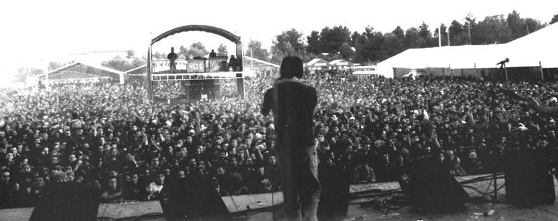 Vista del público desde el escenario durante un concierto del Viñarock 2001