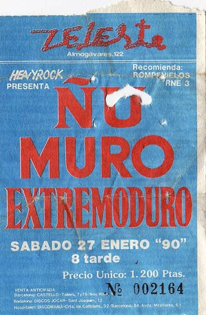 Entrada-Extremoduro-año-1990-01-27-Sala-Zeleste-Barcelona