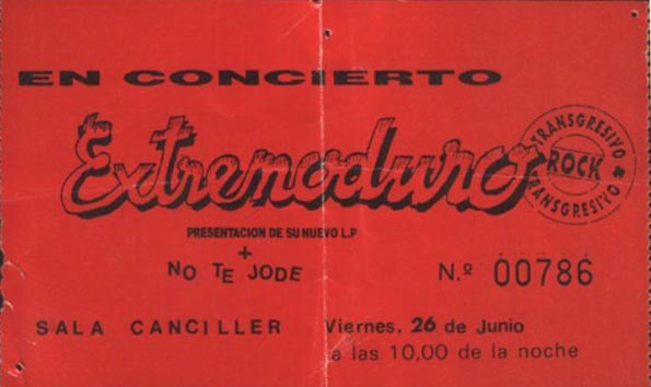 Entrada-Extremoduro-año-1992-06-26-Sala-Canciller-Madrid-presentando-disco