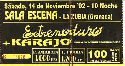 Entrada-Extremoduro-año-1992-11-14-en-la-Sala-Escena-de-La-Zubia-Granada