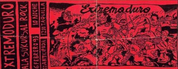Entrada-Extremoduro-año-1993-02-26-sala-Sukursal-de-Madrid