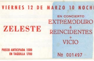 Entrada-Extremoduro-año-1993-03-12-Sala-Zeleste-Barcelona