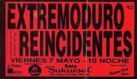 Entrada-Extremoduro-año-1993-05-07-Sala-Sukursal-Madrid