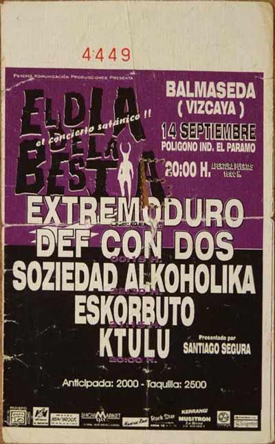 Entrada-Extremoduro-año-1995-09-14-El-dia-de-la-Bestia-Balmaseda-Bizkaia