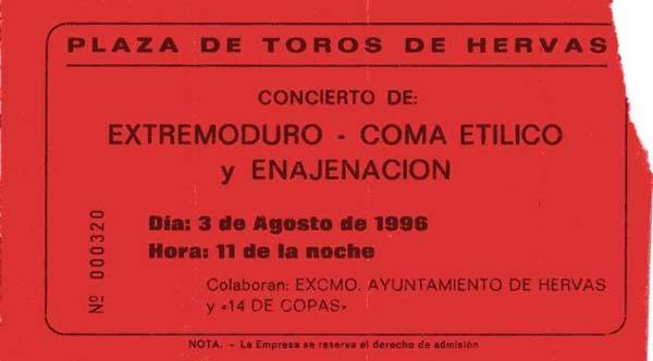 Entrada-Extremoduro-año-1996-08-03-Plaza-de-toros-de-Hervas-Caceres