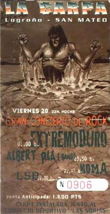 Entrada-Extremoduro-año-1996-09-20-San-Mateo-Logroño
