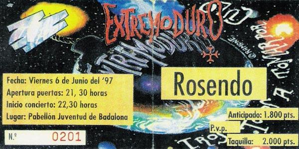 Entrada-Extremoduro-año-1997-06-06-Pabellon-Juventud-de-Badalona