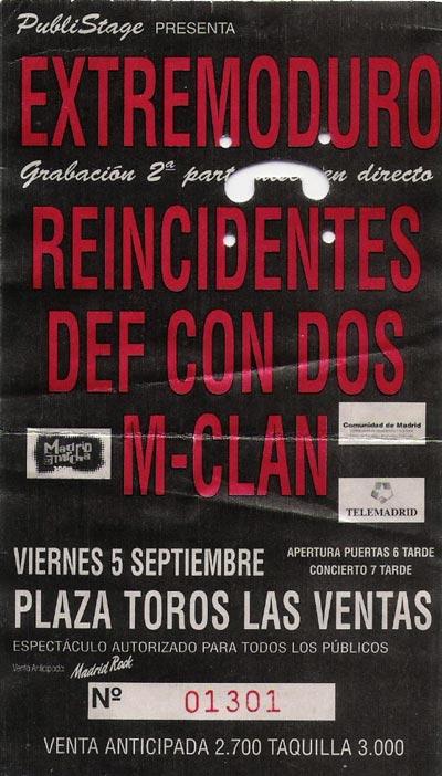 Entrada-Extremoduro-año-1997-09-05-Las-Ventas-Madrid