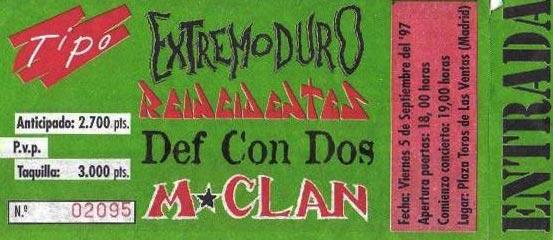 Entrada-Extremoduro-año-1997-09-05-Las-Ventas-Madrid_