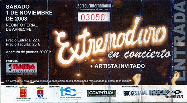 Entrada-Extremoduro-año-2008-11-01-Recinto-ferial-de-Arrecife