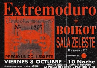 Entrada-Extremoduro-y-Boikot-año-1993-10-08-Sala-Zeleste-Barcelona