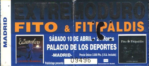 Entrada de Extremoduro y Fito en el Palacio de los deportes, el 10 de abril de 1999