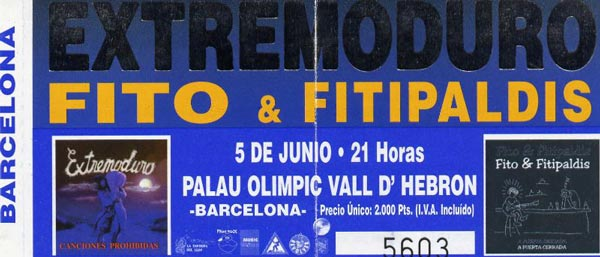 Entrada-Extremoduro-y-Fito-Fitipaldis-año-1999-06-05-Palau-Olimpic-Vall-DHebron-Barcelona