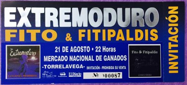 Entrada-Extremoduro-y-Fito-Fitipaldis-año-1999-08-21-Torrelavega-Cantabria