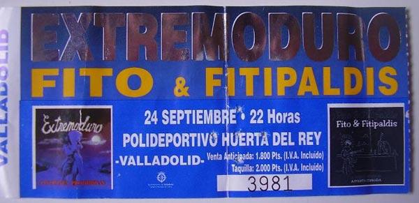 Entrada-Extremoduro-y-Fito-Fitipaldis-año-1999-09-24-Huerta-del-Rey-Valladolid