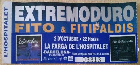 Entrada-Extremoduro-y-Fito-Fitipaldis-año-1999-10-02-Hospitalet-Barcelona