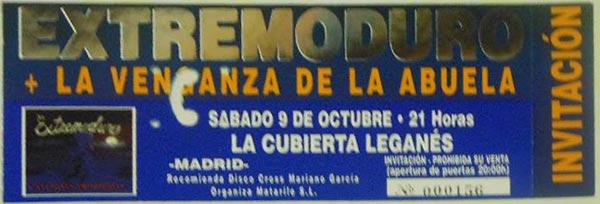 Entrada-Extremoduro-y-La-venganza-de-la-abuela-año-1999-10-09-Cubierta-de-Leganes