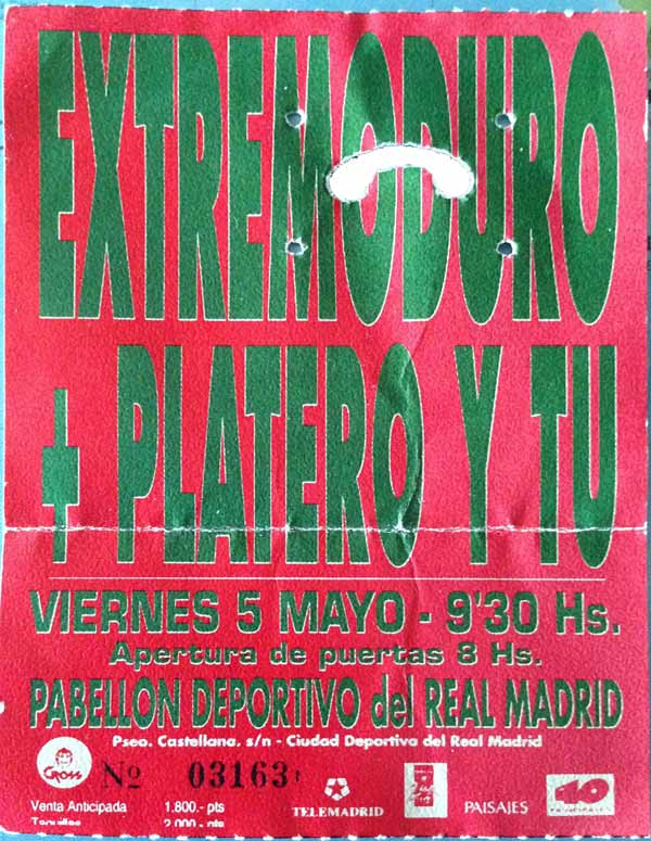 Entrada-Extremoduro-y-Platero-año-1995-05-05-Pabellon-del-Real-Madrid