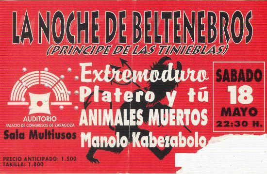 Entrada-Extremoduro-y-Platero-y-Tu-año-1996-05-18-Palacio-de-Congresos-Zaragoza