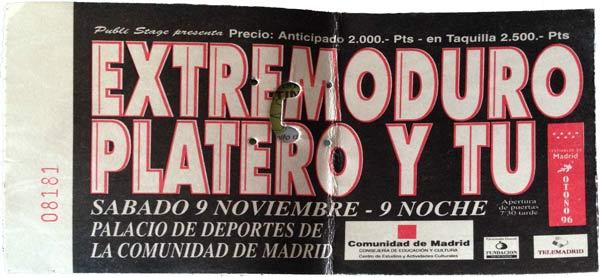 Entrada-Extremoduro-y-Platero-y-Tu-año-1996-11-09-fin-de-gira-Palacio-de-los-Deportes-Madrid