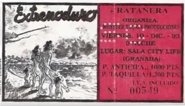 Entrada-Extremoduro-y-Ratanera-año-1993-12-10-sala-City-Life-Granada