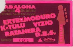 Entrada-Extremoduro-y-Ratanera-año-1996-10-04-Badalona