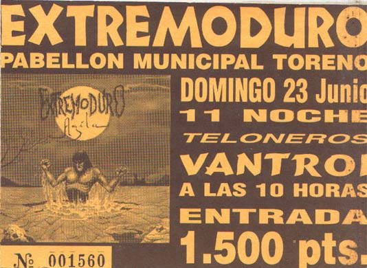 Entrada-Extremoduro-y-Vantroi-año-1996-06-23-Pabellon-municipal-Toreno