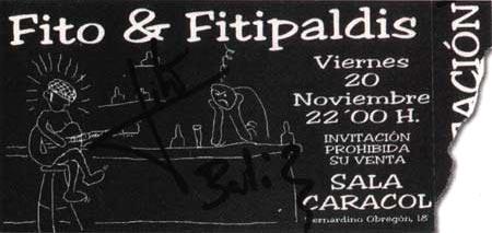 Entrada-Fito-Fitipaldis-año-1998-11-20-Sala-Caracol-Madrid