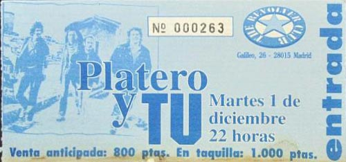 Entrada-Platero-y-Tu-año-1992-12-01-Sala-Revolver-de-Madrid