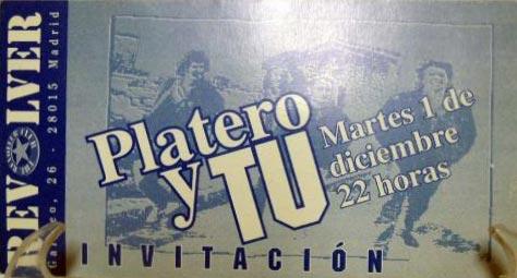 Entrada-Platero-y-Tu-año-1992-12-01-Sala-Revolver-de-Madrid_
