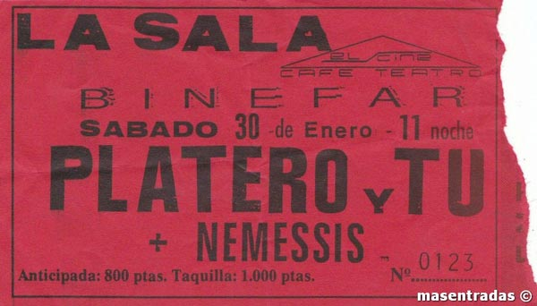 Entrada-Platero-y-Tu-año-1993-01-30-La-Sala-en-Binefar-Huesca