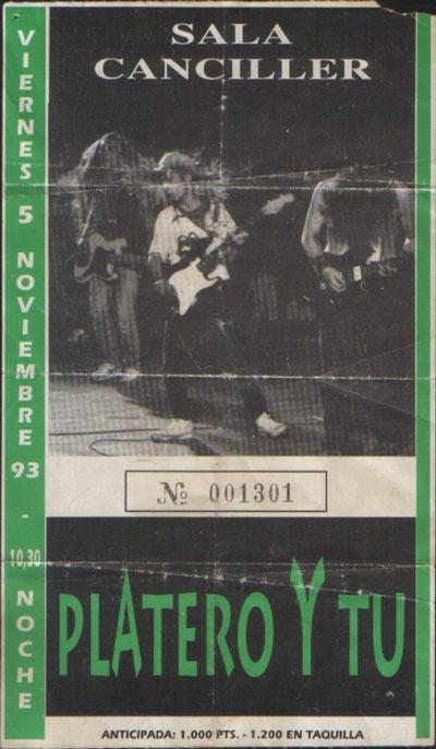 Entrada-Platero-y-Tu-año-1993-11-05-sala-Canciller-Madrid
