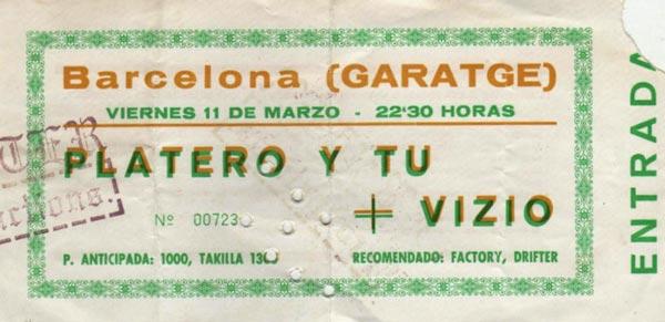 Entrada-Platero-y-Tu-año-1994-03-11-Garatge-Barcelona