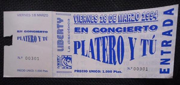 Entrada-Platero-y-Tu-año-1994-03-18-Discoteca-Liberty