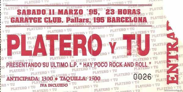 Entrada-Platero-y-Tu-año-1995-03-11-Garatge-Club-Barcelona