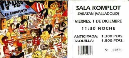 Entrada-Platero-y-Tu-año-1995-12-01-Sala-Komplot-Zaratan-Valladolid