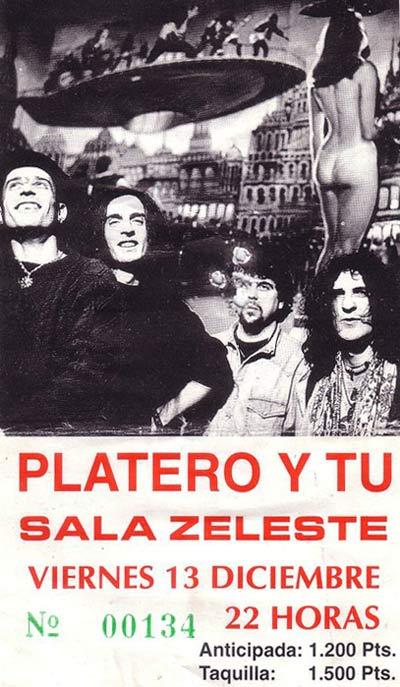Entrada-Platero-y-Tu-año-1996-12-13-Sala-Zeleste-Barcelona