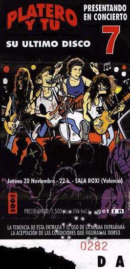 Entrada-Platero-y-Tu-año-1997-11-20-Sala-Roxy-Valencia