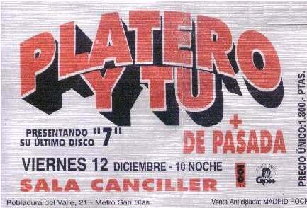 Entrada-Platero-y-Tu-año-1997-12-12-Sala-Canciller-Madrid