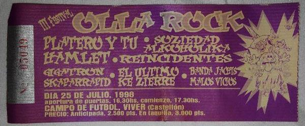Entrada-Platero-y-Tu-año-1998-07-25-OllaRock-Castellon