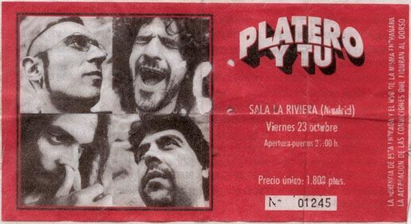 Entrada-Platero-y-Tu-año-1998-10-23-La-Riviera-Madrid