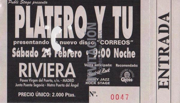 Entrada-Platero-y-Tu-año-2001-02-24-triplete-en-La-Rivera-Madrid