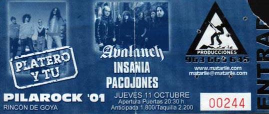 Entrada-Platero-y-Tu-año-2001-10-11-Pilarock-Zaragoza