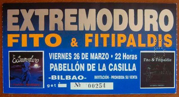 Entrada-Extremoduro-y-Fito-Fitipaldis-año-1999-03-26-Pabello-La-Casilla-Bilbao