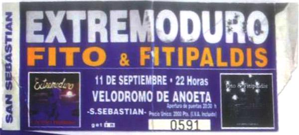 Entrada-Extremoduro-y-Fito-Fitipaldis-año-1999-09-11-Donosti