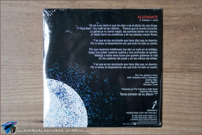 Single 'Alucinante' de Platero y Tú año 1997 - trasera