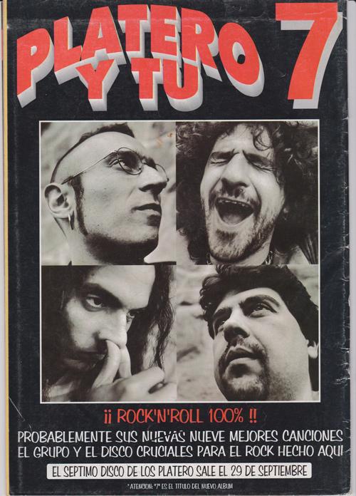 Platero y Tú, anuncio de la publicación de su nuevo álbum '7' - Septiembre de 1997